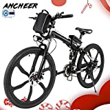 ANCHEER Electric Mountain Bike, 26 Inch Folding E-bike with Super Lightweight Magnesium Alloy 6 Spokes Integrated Wheel, Premium Full Suspension and Shimano 21 Speed Gear