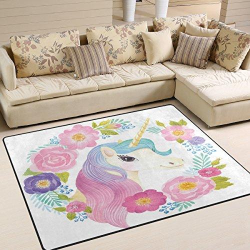Use7 Tapis pour salon, chambre à coucher, motif tête de licorne avec couronne de fleurs, 160 x 122 cm