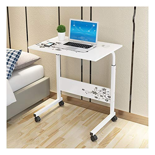 ALBBMY Overbed Bedside Table Days Overbed Table Height-Adjustable,Mobile Laptop Stand Desk,Portable and Sturdy Laptop Desk with Wheels, Living Room, Classroom (Color : White K, Size : 60x50x90cm)