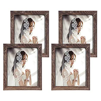 Q.Hou 8x10 Picture Frame Wood Patten Rustic Brown Photo Frames Packs 4 with High Difinition Glass for Tabletop or Wall Decor (QH-PF8X10-BR)