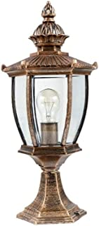 XIAOXY Modern Outdoor Column Lamp Tradition Classic Victoria Glass Lantern Aluminum Waterproof Antirust Table Lamp Street Pillar Bollard Post Light E27 Decoration Lighting, Bronze