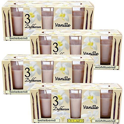 HS Candle Duftkerzen Classic 12er Pack im Glas, lange Brenndauer und angenehmer Duft (Vanille)