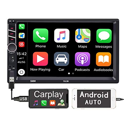 Binize 7 inch Touchscreen Apple Carplay/Android Auto/MP5 Player/Car Radio Receiver/Bluetooth/FM,Support Reversing Image Input/Brake Prompt/Steering Wheel Control/Video Output/AUX Audio Input (7013B)