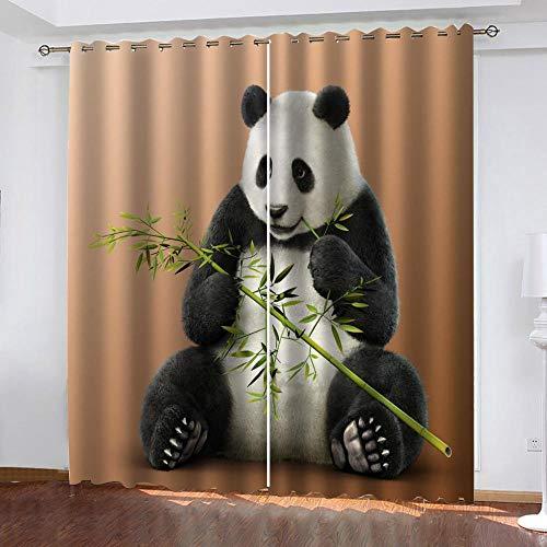 ZLQBed Vorhang Blickdicht Panda Bambus Vorhänge Blickdichte Thermo Gardinen Verdunkelungsvorhang Ösen Vorhänge für Schlafzimmer Wohnzimmer Kinderzimmer 2 Stück, 183x214cm