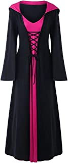 Tsmile Women Plus Size Gown Halloween Lace Up Hooded Bell Sleeve Lace Up Two Tone Contrast Pageant Long Maxi Dress