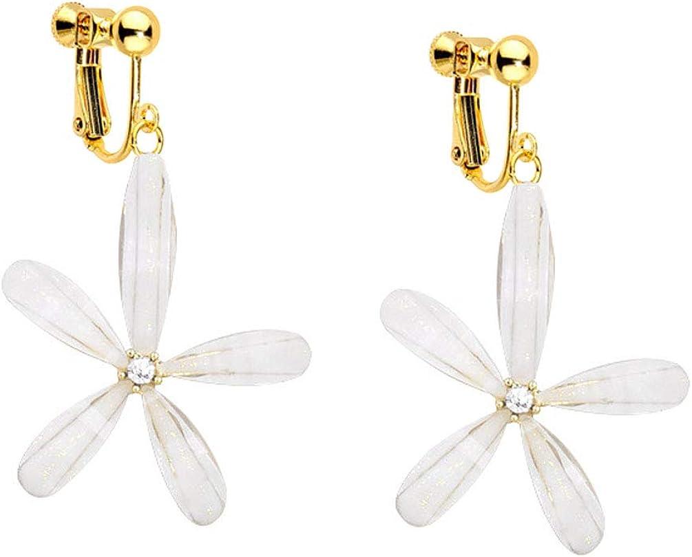 Clip on Dangling Earrings Clear Resin Five Leaf Flower Drop for Women Girls No Pierced Dangle Fashion