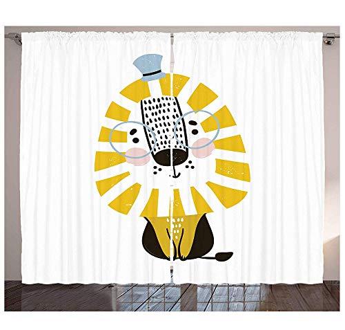 MUXIAND Lion Gordijnen Doodle Stijl Jungle Dier met Mane Bril en Hoed Grappige Animal Cartoon Woonkamer Slaapkamer Raam Drapes Bleke