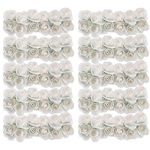 Schneespitze 2 Pack 288 Stücke Mini Künstliche Papier Rose Blumen,Kunstrosen Weiss,Blumen Hochzeit Dekorationen,Floral Arrangements,Party, Haarschmuck, DIY Weiß