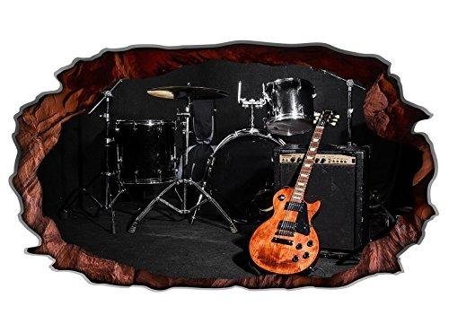 3D Wandtattoo Musik Schlagzeug Gitarre Bühne Bild selbstklebend Wandbild sticker Wohnzimmer Wand Aufkleber 11H1424, Wandbild Größe F:ca. 162cmx97cm