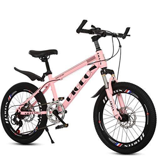 Variable Speed Bicycle Children's High Carbon Steel Frame/Front Fork Spring Suspension/Double Disc Brake/Anti-Skid Tires 20 Inches Suitable for Height 130-150 cm (Color : Pink)