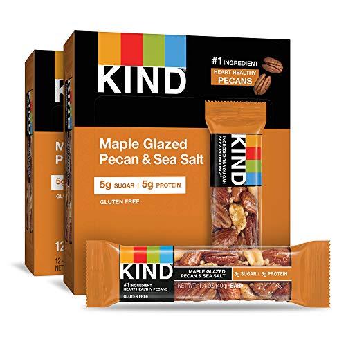 KIND Bars, Maple Glazed Pecan and Sea Salt, Gluten Free, Low Sugar, 1.4 Ounce Bars, 24 Count