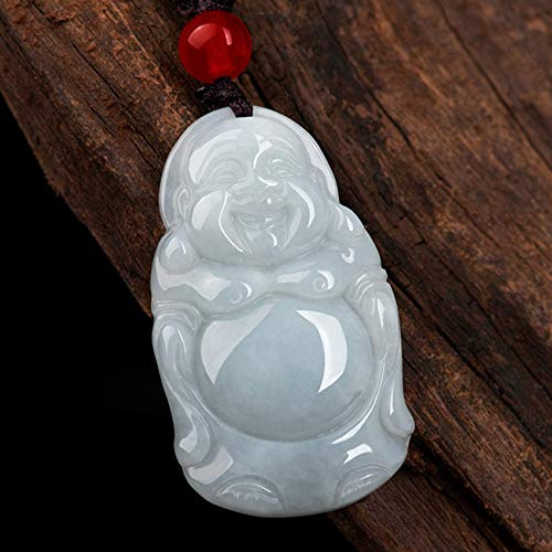 JIUXIAO Bracelets For Women,Feng Shui Wealth Jade Necklace for Women Natural Jadeite Jade Laughing Buddha Maitreya Buddha Pendant Necklace Braided Lanyard Amulet Attracts Money Fortune Blessing Pea