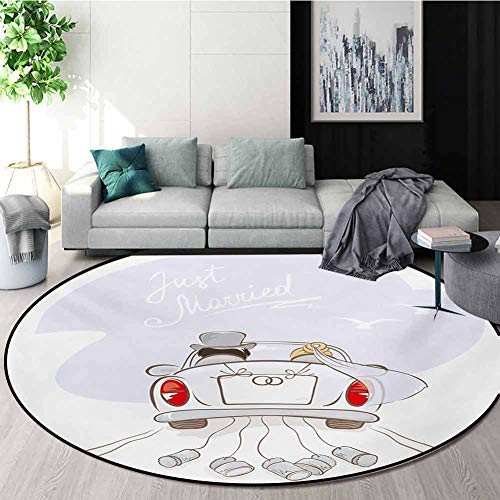 Best Price! RUGSMAT Wedding Small Round Rug Carpet,Just Married Retro Hand Writing Bride and Groom i...