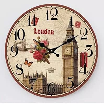 Royal-Continental Retro Creative Wooden Mute Wall clock