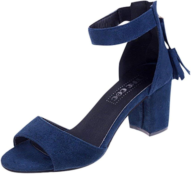 MEIZOKEN Women's Strappy Chunky Block Sandals Ankle Strap Open Toe High Heel Fringe Dress Party Sandals