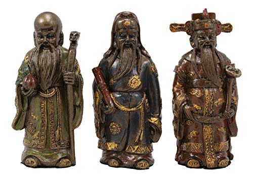 Ebros Gift Auspicious Feng Shui Fu Lu Shou Gods San Xing Three Celestial Stars Deity of Prosperity Status and Longevity Figurine Set of 3 As Altar Sculptures Chinese Zodiac and Buddha Tao Decor