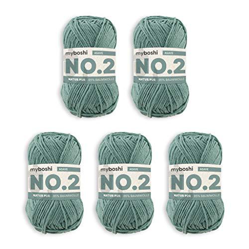 myboshi No.2 Wolle, 85% Baumwolle, 15% Kapok, Agave, 50g, 100m, 5 Knäuel, Wolle zum Häkeln und Stricken, Babywolle, Ökotex, Wärmeregulierend, Vegan