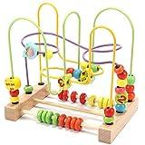 Jacootoys Motorikschleife aus Holz Roller Coaster Holzspielzeug Beweglich Lernspiel Bead Maze Babys Spielzeug für Kinder