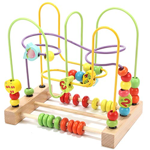 Jacootoys Beads Maze Roller Coaster Activity Learning Game Preschool Educational Toy Gift for Toddlers