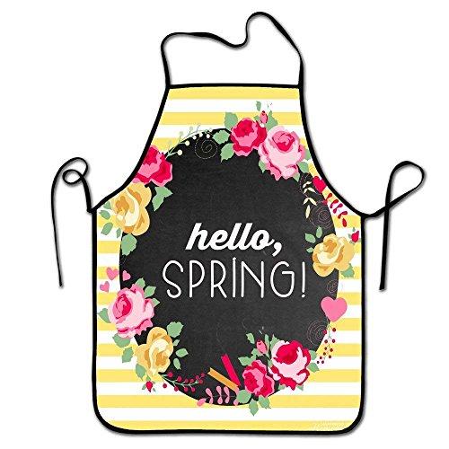 AOOEDM Delantal de Cocina para Chef para Adultos con diseño Hello Spring-Delantal de Cocina con Borde Negro de Personaje Unisex Divertido