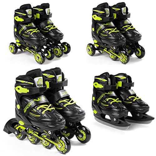 SportVida Inline Skates Kinder Erwachsene Inliner 4in1 | Verstellbare Schlittschuhe | Triskates ABEC7 Lager Rollschuhe Größenverstellbar (Schwarz-Lime, 31-34)