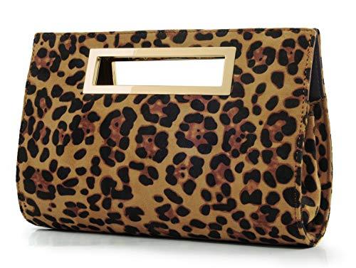 Hoxis Classic Crocodile Pattern Faux Patent Leather Metal Grip Cut it out Clutch with Shoulder Strap Womens Handbag (Leopard Print)