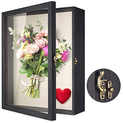 """TJ.MOREE Flowers Shadow Box Display Case 13"""" x 16"""" Large Shadow Box Frame with Glass Window Door Picture Frame Wedding Bouquet Memorabilia Medals Photos Memory Box for Keepsakes - Rustic Black"""