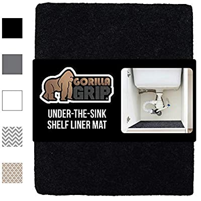 Gorilla Grip Original Premium Under Sink Mat Liner, 24x30 Inch, Non-Adhesive Absorbent Mats, Durable and Strong Waterproof Shelf Liners for Under Kitchen Sinks, Bathroom, Laundry Room, Black
