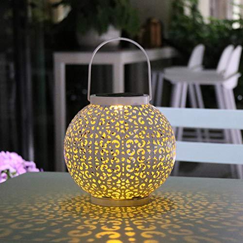 Mobestech Solar-Laterne zum Aufhängen, Eisen, hohl, für den Außenbereich, Vintage, Garten, Landschaft, Lampe, Tischdekorationen mit Griff für Tür, Hinterhof, Baum (weiß)