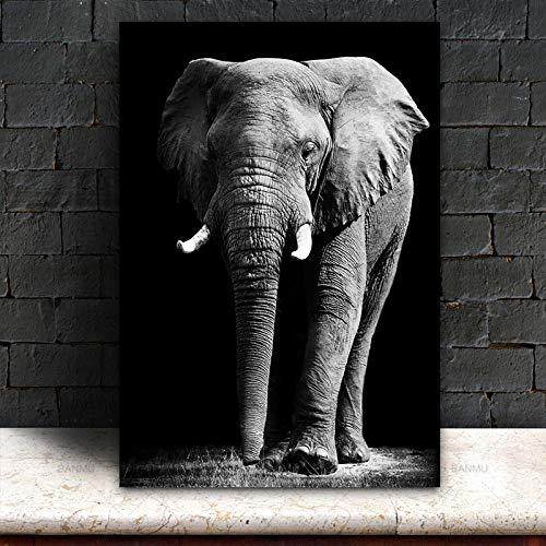KWzEQ Arte de póster en Blanco y Negro con Pintura de Animales, decoración Moderna del hogar de la Sala de estar80X120cmPintura sin Marco