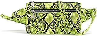 Women Snakeskin Print Belt Bag Pattern Waist Pack Purse Small PU Leather Fanny Pack for Women Shopping, Dating, Evening Ou...