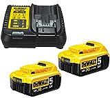 DeWalt B DCB184 - Batería de ion de litio (5,0 Ah, 18 V, 2 unidades, cargador DCB115), color amarillo