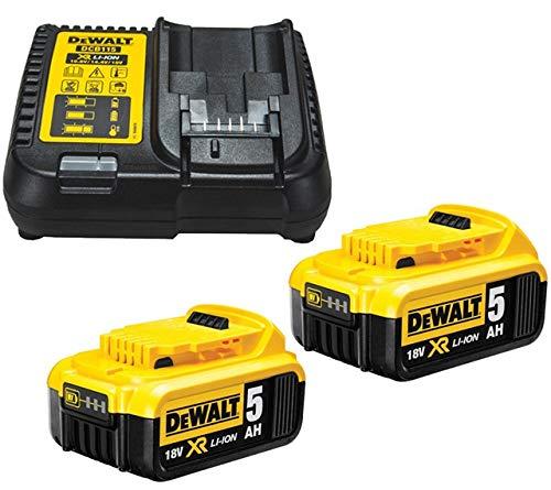 Dewalt B DCB184 5.0ah 18v XR batería de Iones de Litio Paquete Doble + Cargador DCB115, Amarillo