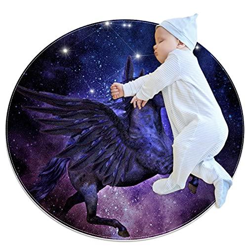 Galaxy Horse Constellation - Alfombras antideslizantes para sala de estar, dormitorio, sala de juegos, 100 cm, suaves para interiores