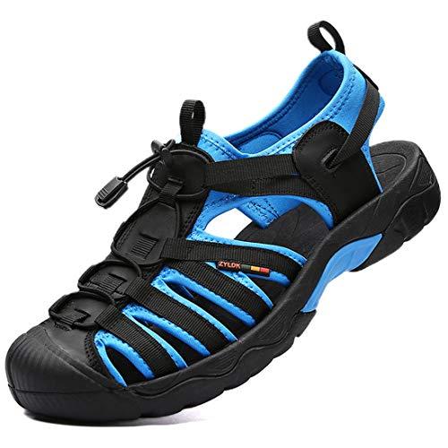 Herren Sandalen Leder Strand Trekkingsandalen Outdoorsandalen Sommer Wandersandale Männer Atmungsaktive Geschlossene Sandale Größe 38-46 Blau, 41 EU