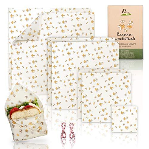 Amazy Emballage Alimentaire en Cire d'Abeille (Lot de 7) - Papier Alimentaire réutilisable pour Wrap et Sachet | Alternative Durable au Plastique - certifié LFGB