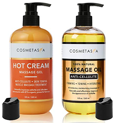 Anti-Cellulite Massage Oil & Hot Cream - Perfect Mother's Day Gift Set, 100% Natural Cellulite Treatment with Gel & Oil - Firm, Tone, Tighten & Moisturize Skin - Muscle Pain Relief