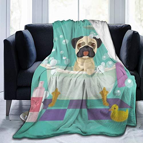 Cómoda Manta de Franela Fina,Perro Pug en la bañera Aseo Perrito Cachorro Salón Champú Pato de Goma Mascotas Dibujos Animados,Manta de Aire Acondicionado 60'x80'
