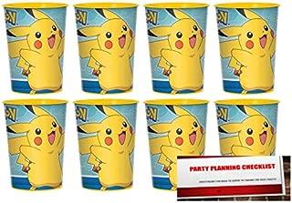 Pokemon Pikachu 16oz Plastic Favor Cups 8 Pack (Plus Party Planning Checklist by Mikes Super Store)