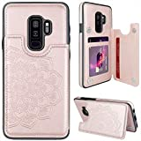 MMHUO for Samsung Galaxy S9 Plus Case with Card Holder,Flower Magnetic Back Flip Case for Samsung Galaxy S9+ Wallet Case for Women,Protective Case Phone Case for Samsung Galaxy S9 Plus 6.2',Rose Gold