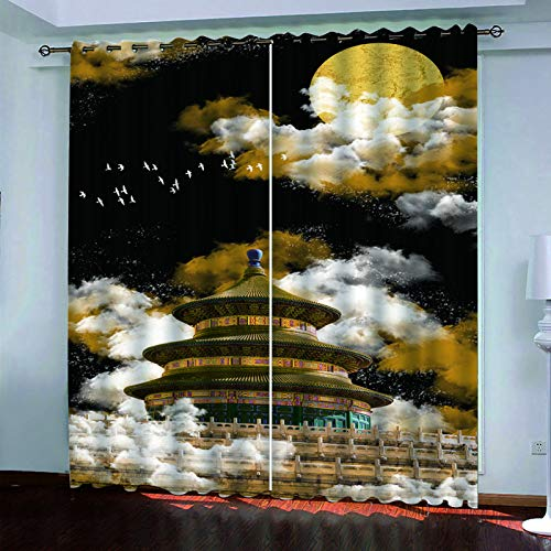 YUNSW 2-Piece Perforated Curtains, 3D Chinese Temple Of Heaven Pattern Curtains, Garden Living Room Bedroom Kitchen Decorative Curtains