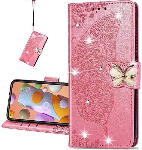 COTDINFOR Compatible with LG K42 Hülle,Diamant Kristall Schutzhülle Magnet Handytasche Kartenfächer Lederhülle Flip Handyhüllen für LG K42 Cover Diamond Butterfly Pink SD