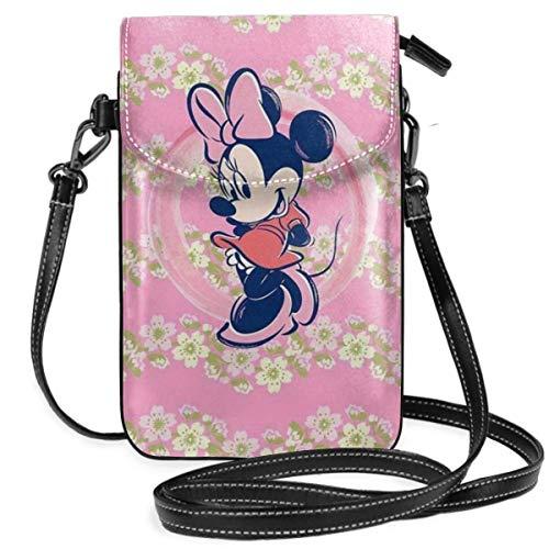 Bolso cruzado pequeño para teléfono celular Kawaii Minnie Mouse Print con ranuras para tarjetas de crédito