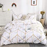 Marble Bedding White Gold Marble Duvet Cover Set Gold Geometric Marble Printed Design White Microfiber Bedding Sets Queen 1 Duvet Cover 2 Pillowcases (Queen, Marble)