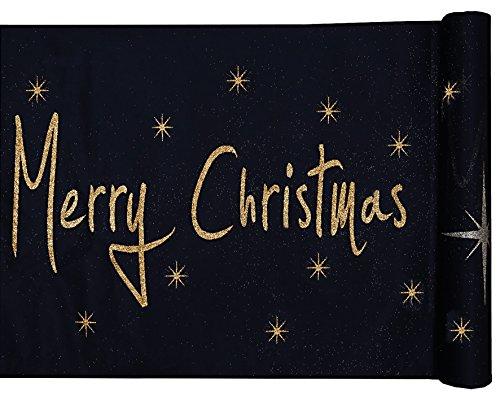 Sachsen Versand 5 Meter Nr.6 Tischläufer-Deco-Band Weihnachten Sterne Merry Christmas schwarz-Gold