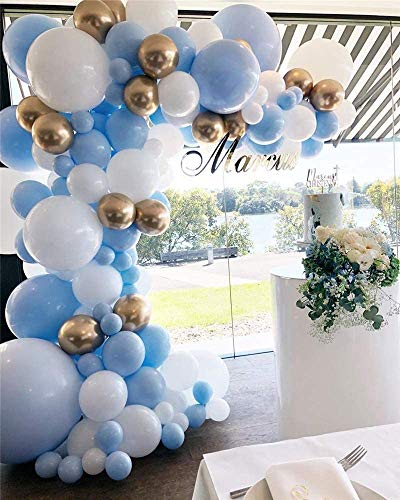DUBEDAT 127Pcs Balloon Garland Kit Blue White Gold Chrome Balloon Arch Wedding Bridal Shower Birthday Party Baby Shower Decoration