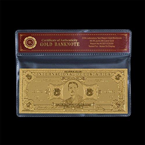 Desconocido Monedero de Papel Chapado en Oro de 24 Quilates con Caja de plástico para Regalo, diseño de Billete de dólar Americano, Type 18, Size:Original banknote Size