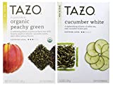Tazo Flavored White and Green Tea 2 Flavor Variety Bundle; (1) Tazo Organic Peachy Green Tea (1) Tazo Cucumber White Tea, 1.2-1.4 Oz. Ea.