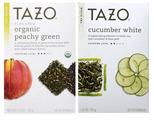 TAZO Flavored White and Green Tea 2 Flavor Variety Bundle; (1) Organic Peachy Green Tea (1) Cucumber White Tea, 1.2-1.4 Oz. Ea.