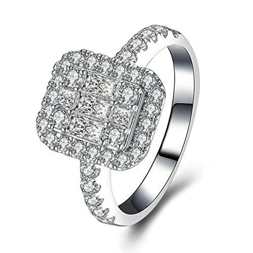 Beydodo Anelli Donna Argento Zirconi con Rotonda e Smeraldo Brillante Diamante Taglia 20 Anello Nuziale Argento